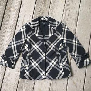 Black and white plaid blazer NWOT—Talbots